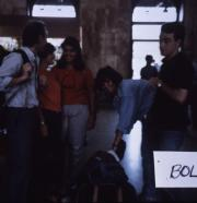 Abroad students gather themselves in an airport, c.1986