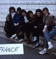 Abroad students gather for a photo in France, c.1986