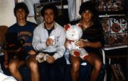 Three students with teddy bears, c.1987
