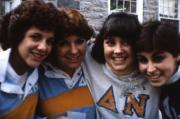 Four friends smile, c.1987
