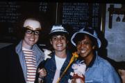 Three students with silly hats, c.1987