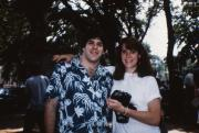 Two friends smile, c.1987