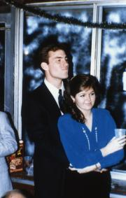 Two students in formal attire, c.1987