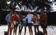 Students pose at the beach, c.1987