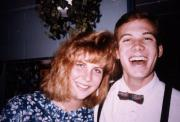 Two friends smile, c.1989