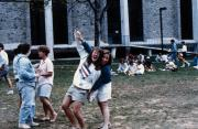 Students outside the Spahr Library, c.1989