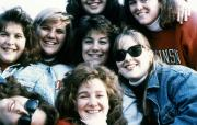 Friends gather together for a photo, 1989