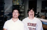 Two men make funny faces, c.1990