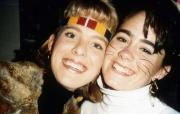 Two friends smile for the camera, c.1991