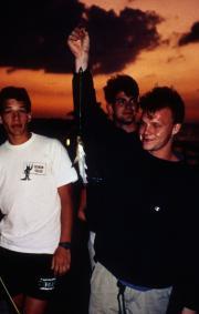 Students show off fish, c.1994