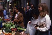 Students shop at a street market, 1994