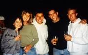 Five friends at a social event, c.1995