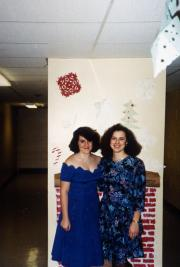 Two girls dress up for holiday event, c.1995