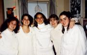 Five girls wear all white, c.1995