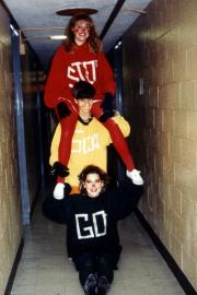 Three students as a stop-light for Halloween, c.1995