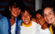 Four friends smile, c.1995