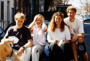 Students sit on a car hood, c.1995