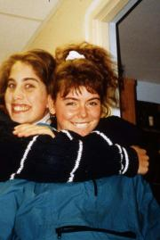 Two friends smile, c.1995