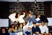Students take a silly group picture, c.1995