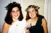 Two girls attend a toga party, c.1995