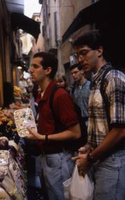 Students shop at a market, 1996