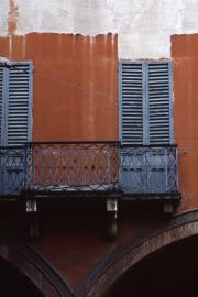 Blue window shutters in Bologna, 1996