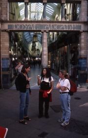 Students outside the Royal Arcade, 1995