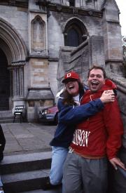 Two students outside the Cathedral of St. John the Baptist, 1995