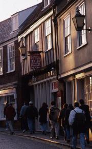 Students walk in Norwich, 1995