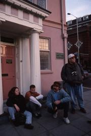 Three students and Professor Wronski in Norwich, 1995
