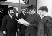 Students outside the Kline Center at Commencement, 1990
