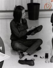 Student shining shoes, c.1960