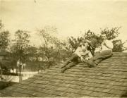 Sigma Alpha Epsilon brothers on a roof, c.1900