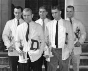 """""""D"""" Club members with trophies, 1960"""