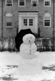 Snowman in front of South College, 1990