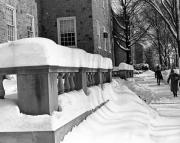 Althouse Hall entrance covered in snow, c.1970