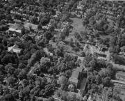 Aerial view of Morgan Hall construction, c.1955