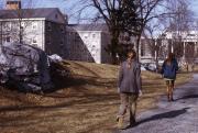 Students walking through Morgan Field, 1973