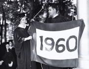 Students raise Class of 1960 flag at Commencement, 1960