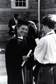 Suzanne Bennett at Commencement, 1986