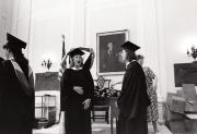 Students prepare for Commencement, 1988