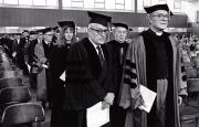 President Rubendall and Priscilla Laws at Convocation, 1973
