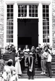 Students sing at Convocation, 1995