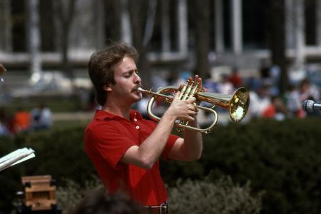 William Black plays the flugelhorn, c.1983