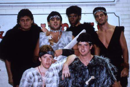 Cavemen pose for photo, c.1986