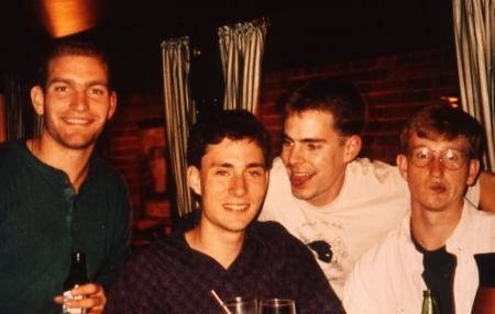 Boys smile at a bar, c.1994