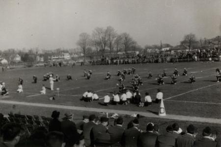 Band at Homecoming game, 1952