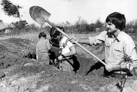 History class digs a trench, 1977