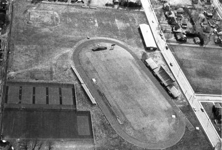 Aerial view of Biddle Field, c.1965