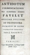 Antidotum Fermentationis Pro Clarissimo Domino Favelet